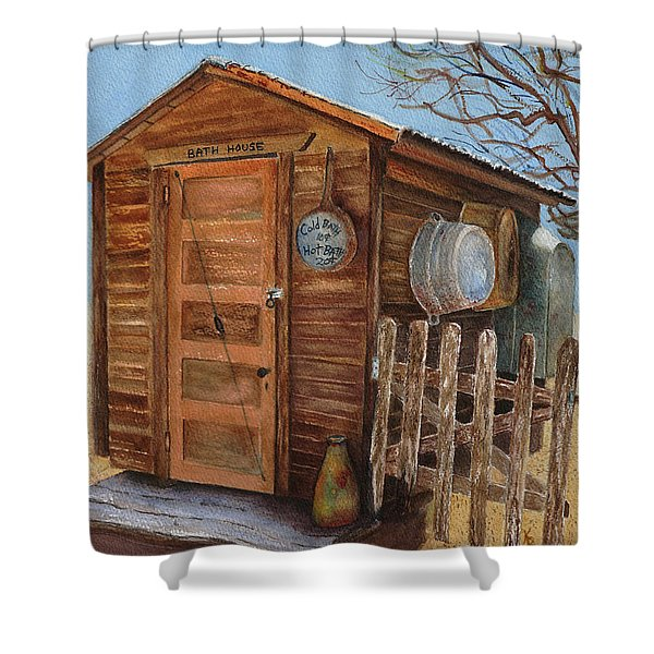 Shower Curtain featuring the painting The Bath House by Karen Fleschler