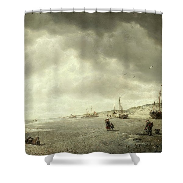 The Beach At Nieuport On The Flemish Coast Shower Curtain