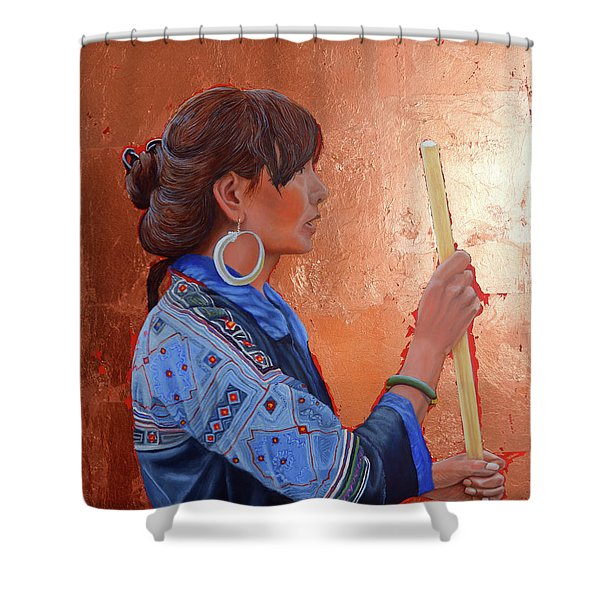 The Black Hmong Princess Shower Curtain