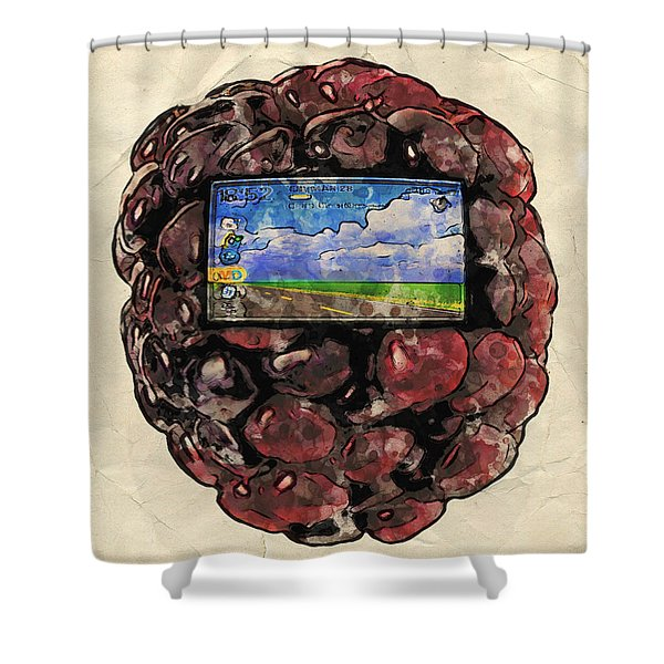 Shower Curtain featuring the digital art The Blackberry Concept by ISAW Company
