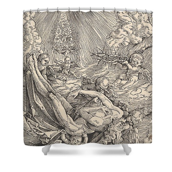 The Body Of Christ Carried By Angels Towards Heaven, 1516  Shower Curtain