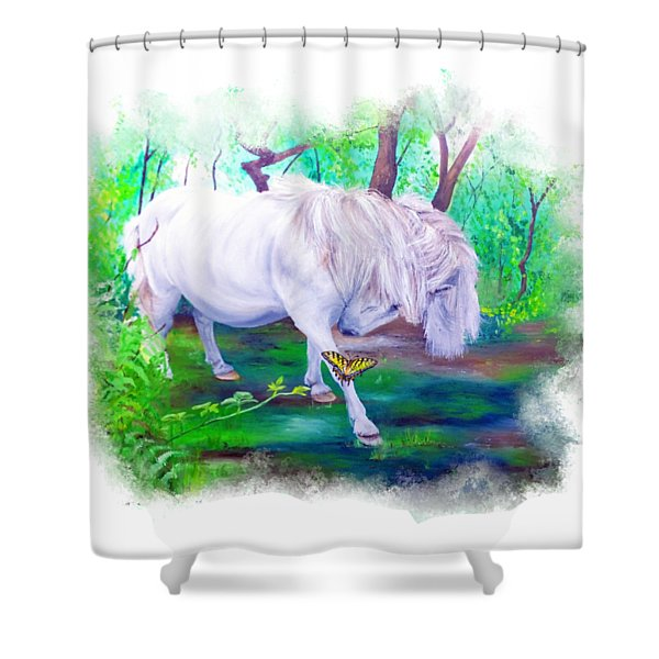 The Butterfly And The Pony Shower Curtain