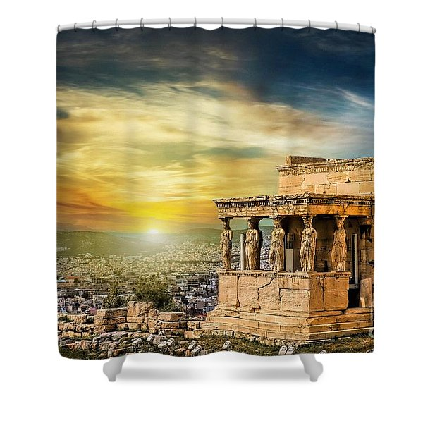 The Caryatids Of Acropolis In Athens, Greece Shower Curtain