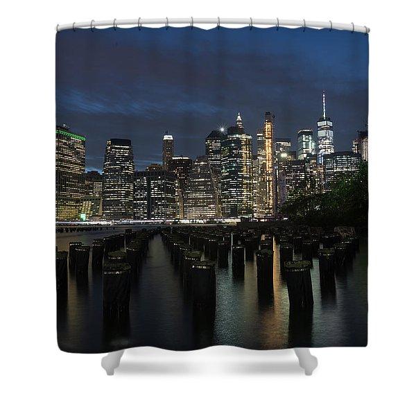 The City Alight Shower Curtain