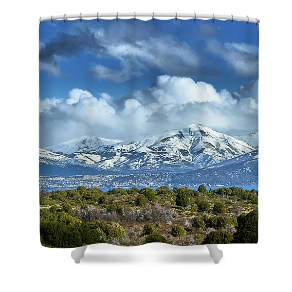 The City Of Bariloche And Landscape Of Snowy Mountains In The Argentine Patagonia Shower Curtain