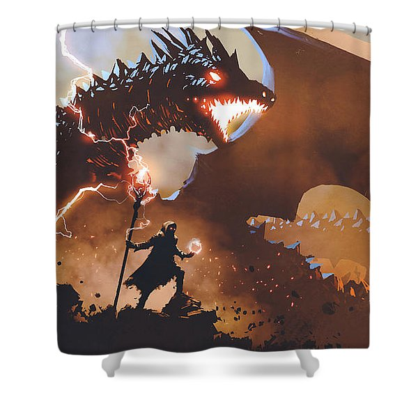 Shower Curtain featuring the painting The Dragon Wizard by Tithi Luadthong