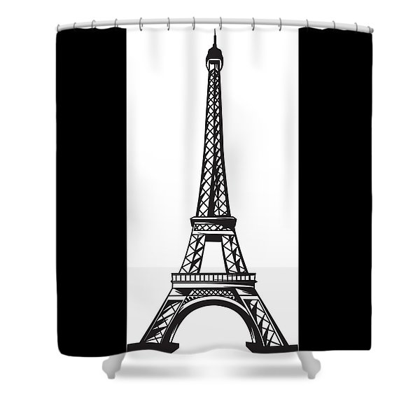 Shower Curtain featuring the digital art The Eiffel Tower by Stanley Mathis