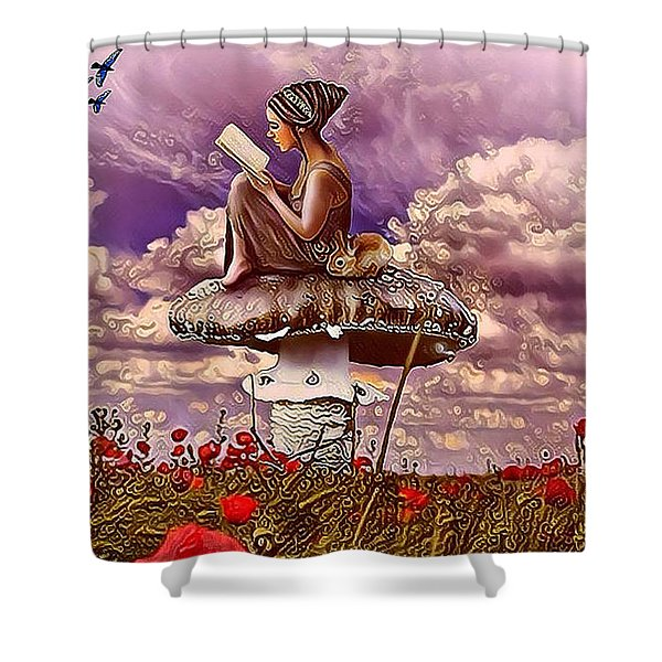 The Girl On The Mushroom Shower Curtain