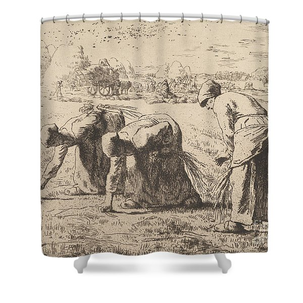 The Gleaners  Etching By Millet Shower Curtain