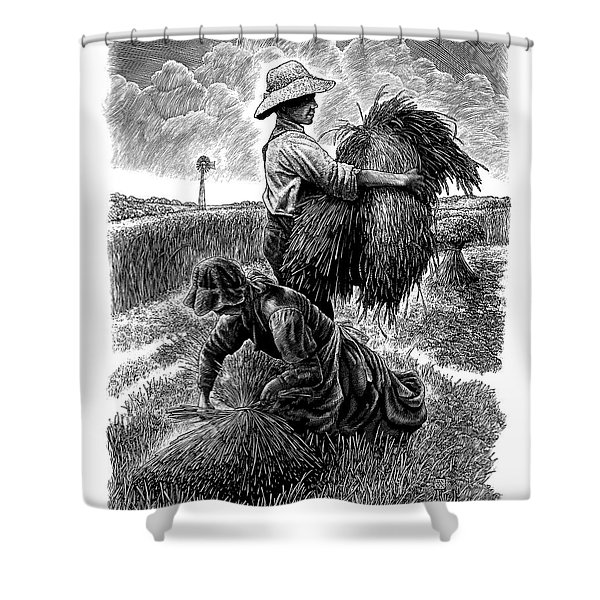 The Harvesters - Bw Shower Curtain