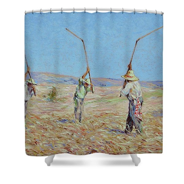 The Haymakers - Pierre Van Dijk 70x90cm Oil Shower Curtain