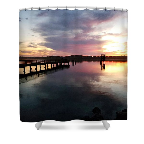 The Hollering Place Pier At Sunset Shower Curtain