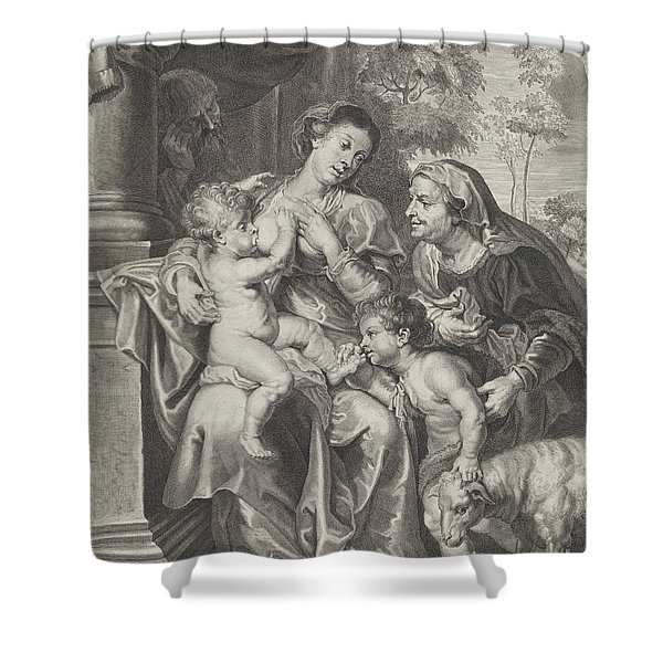 The Holy Family With Elizabeth And The Infant Saint John The Baptist, The Virgin Nursing The Infant  Shower Curtain