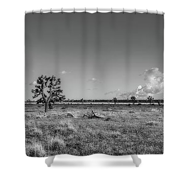 The  Joshua Tree Plains - Black And White Shower Curtain