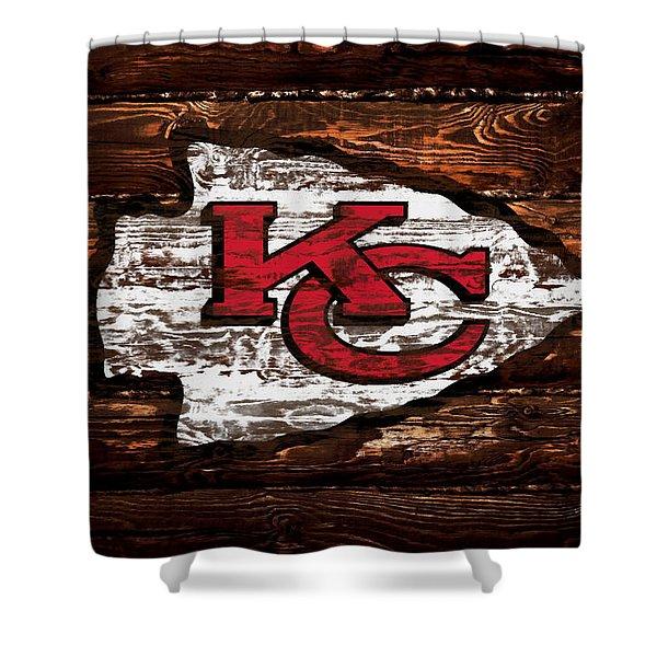 The Kansas City Chiefs  Wood Art Shower Curtain