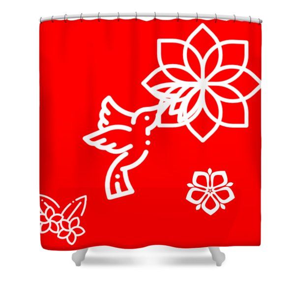 The Kissing Flower On Flower Shower Curtain