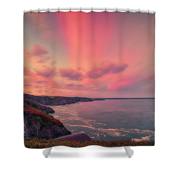 The Lizard Point Sunset Shower Curtain