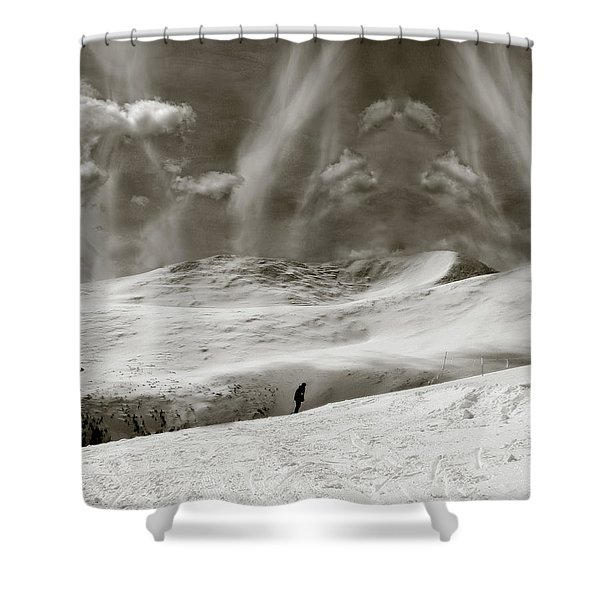 Shower Curtain featuring the photograph The Lone Boarder - Duochrome by Wayne King