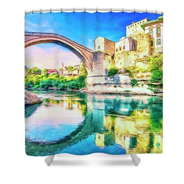 The Mostar Bridge Shower Curtain