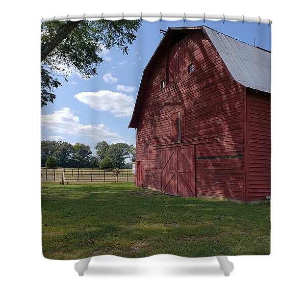 The Old Red Barn Shower Curtain