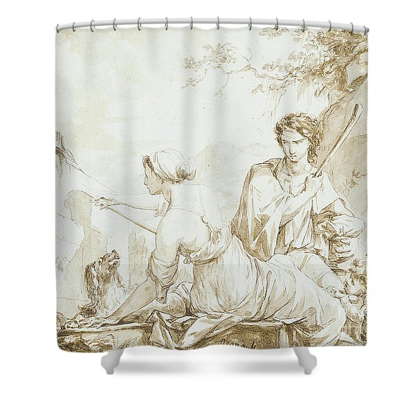 The Origin Of Painting, Or Dibutade Tracing The Profile Of The Shepherd  Shower Curtain