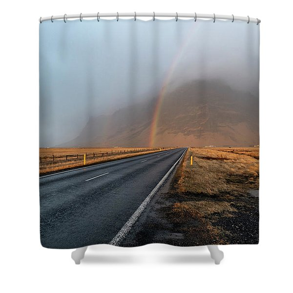 The Rainbow Road Shower Curtain