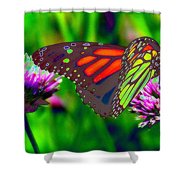 The Red Monarch Butterfly Shower Curtain