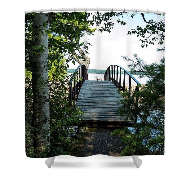 The Rock River Foot Bridge Shower Curtain