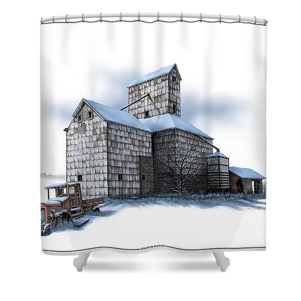 The Ross Elevator Winter Shower Curtain
