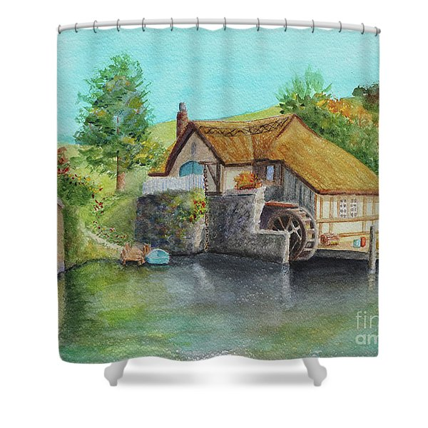 Shower Curtain featuring the painting The Shire by Karen Fleschler