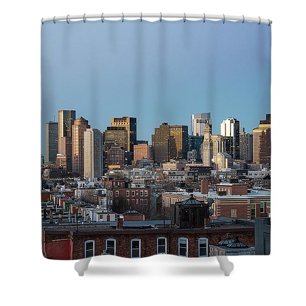 The Skyline Of Boston In Massachusetts, Usa On A Clear Winter Ev Shower Curtain