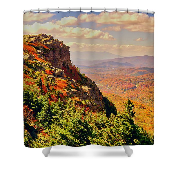 Shower Curtain featuring the photograph The Summit In Fall by Meta Gatschenberger