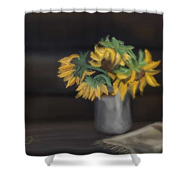 Shower Curtain featuring the painting The Sun Flowers  by Fe Jones