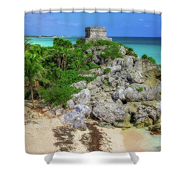 The Temple By The Sea Shower Curtain