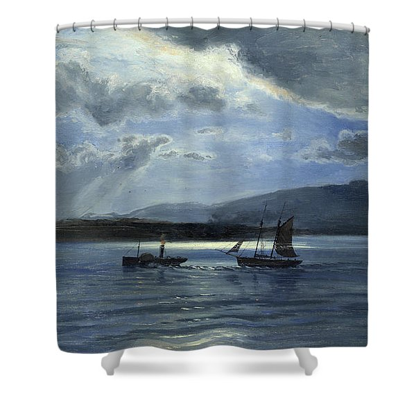 The Traeth Maur, Portmadee, Moonlight - Twilight Shower Curtain