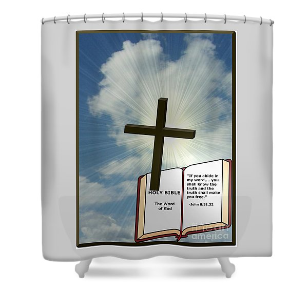 Shower Curtain featuring the digital art The Truth Will Set You Free by Charles Robinson