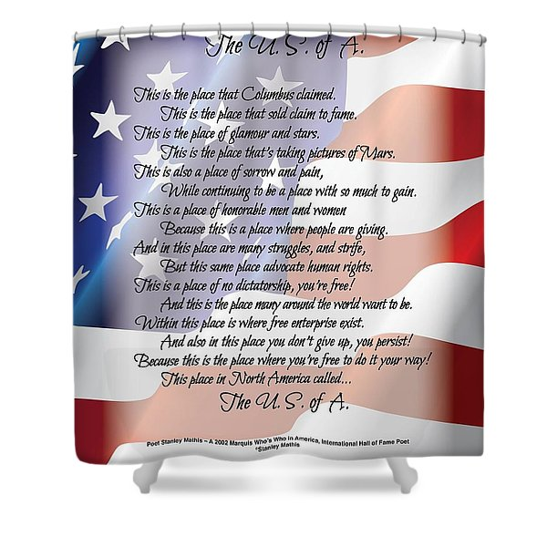Shower Curtain featuring the digital art The U.s. Of A. Poetry Art by Stanley Mathis