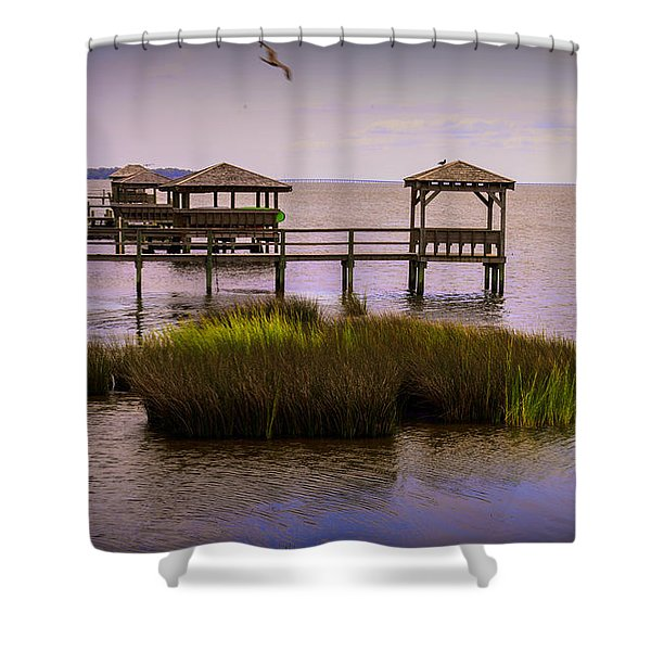 The Waterfront At Duck  Shower Curtain