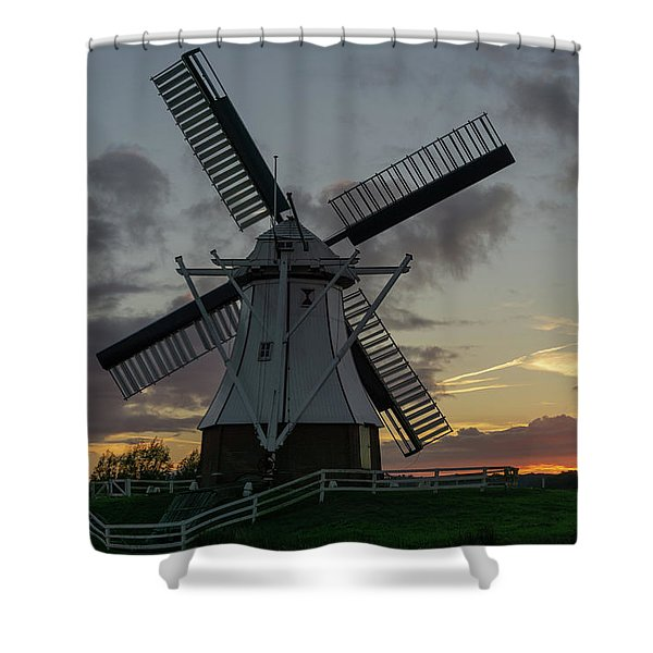 Shower Curtain featuring the photograph The White Mill by Anjo Ten Kate
