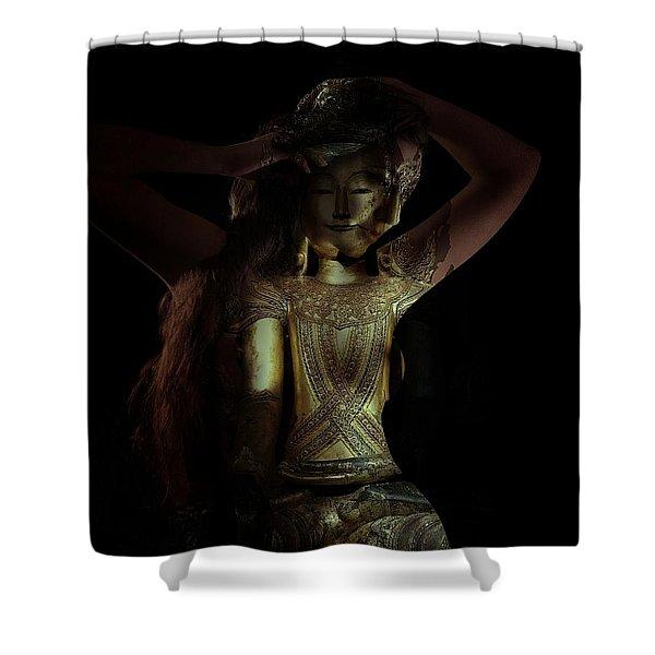 The Woman Beneath Shower Curtain