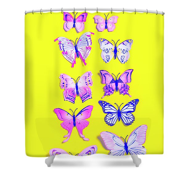 The Yellow Bug Road Shower Curtain