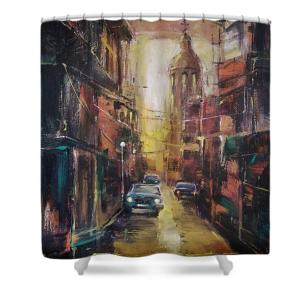 The Yellow Street Shower Curtain