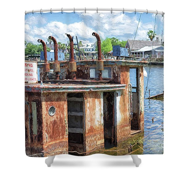 The Sunken Tugboat Fine Art Photography - Digital Painting By Mary Lou Chmura Shower Curtain