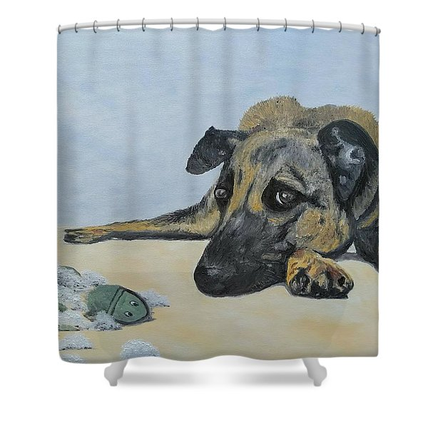 Shower Curtain featuring the painting This Toy Is Defective by Kevin Daly