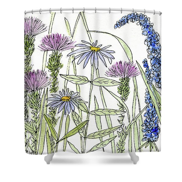 Thistle Asters Blue Flower Watercolor Wildflower Shower Curtain