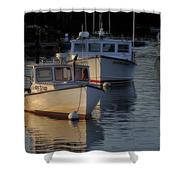 Three Boats In Maine Shower Curtain