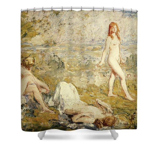 Three Girls Bathing, Thame, 1911 Shower Curtain