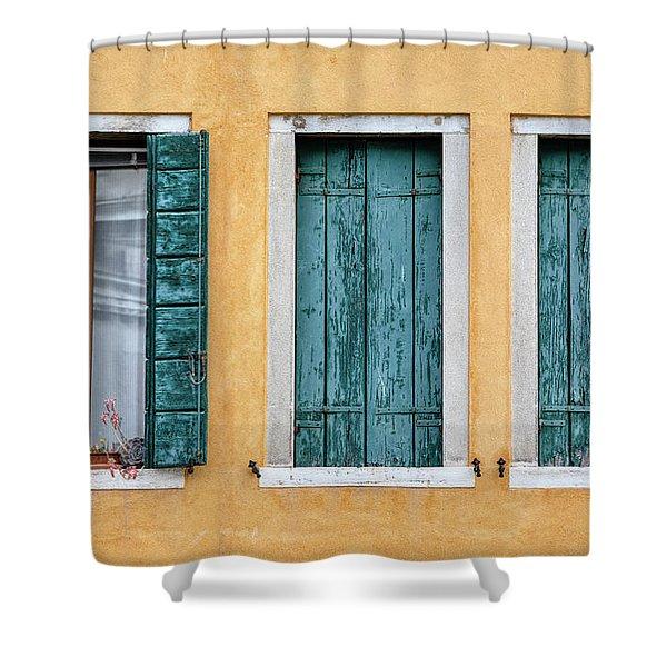 Three Green Windows Of Venice Shower Curtain