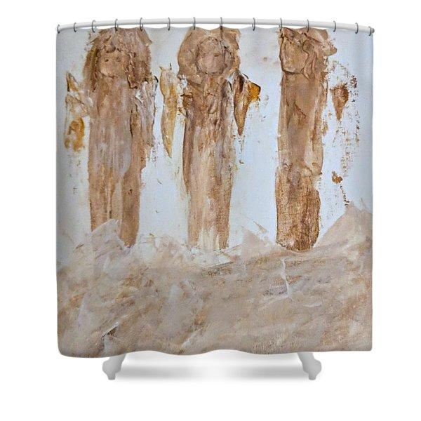 Three Little Muddy Angels Shower Curtain