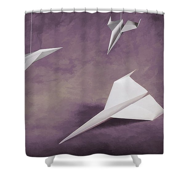 Three Paper Airplanes Shower Curtain